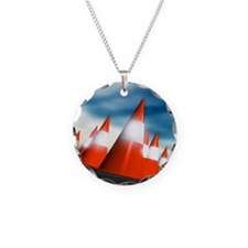 Traffic cones Necklace Circle Charm