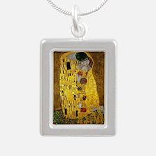 Gustav Klimt The Kiss Silver Portrait Necklace