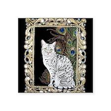 "Silver Egyptian Mau Square Sticker 3"" x 3"""