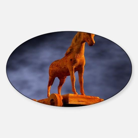 Trojan horse, computer artwork Sticker (Oval)