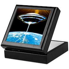 UFO above Earth Keepsake Box