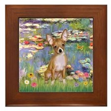Lilies & Chihuahua Framed Tile