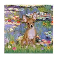 Lilies & Chihuahua Tile Coaster