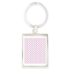 Breast Cancer Awareness Pink Rib Portrait Keychain