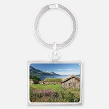 Turf roofed wooden huts, Norway Landscape Keychain