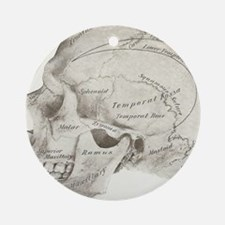 side view skull design Round Ornament