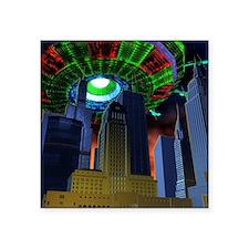 """UFO over city Square Sticker 3"""" x 3"""""""