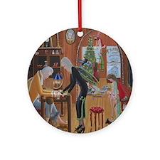 Papa Ks Cobbler Shop During Christm Round Ornament