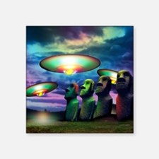 "UFOs over statues Square Sticker 3"" x 3"""