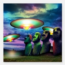 """UFOs over statues Square Car Magnet 3"""" x 3"""""""
