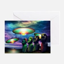 UFOs over statues Greeting Card