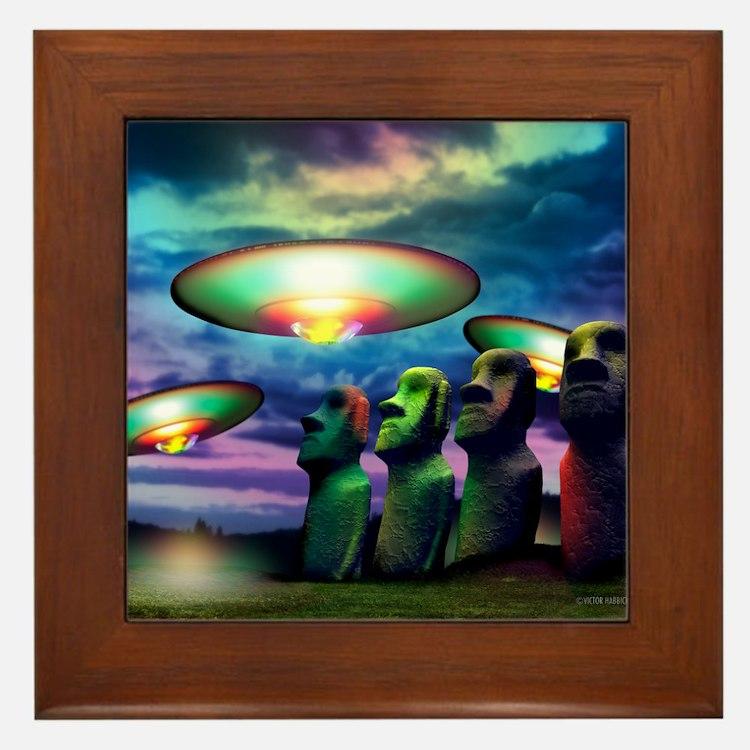UFOs over statues Framed Tile