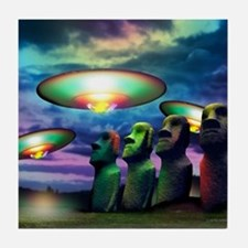 UFOs over statues Tile Coaster