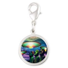UFOs over statues Silver Round Charm