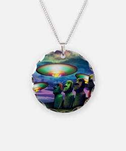 UFOs over statues Necklace Circle Charm