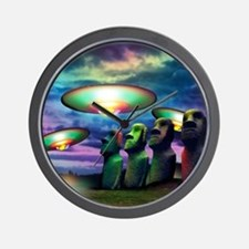 UFOs over statues Wall Clock