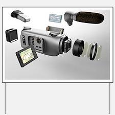 Video camera parts, computer artwork Yard Sign
