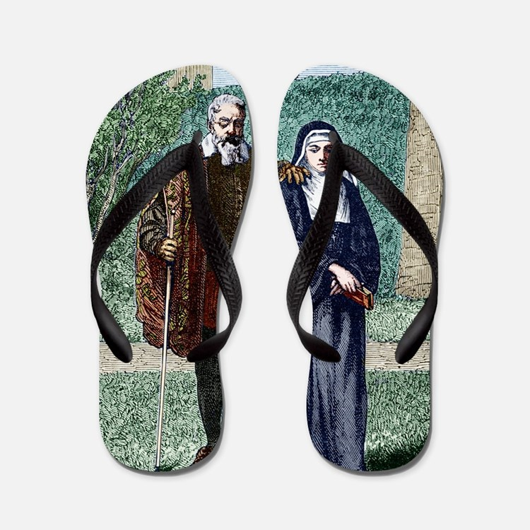 Galileo and his daughter Maria Celeste Flip Flops