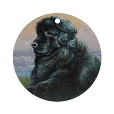 Newfoundland Dog Round Ornament