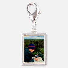 Walker using hand-held GPS r Silver Portrait Charm