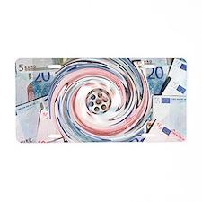 Wasting money, conceptual i Aluminum License Plate