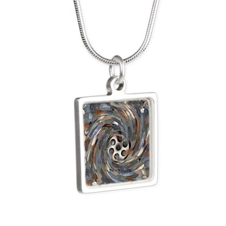 Wasting money, conceptual Silver Square Necklace