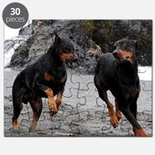 Dobermans on the beach Puzzle