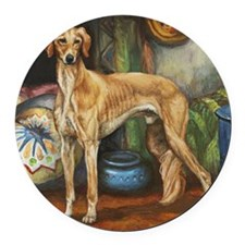 Saluki in the Tent Round Car Magnet