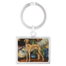 Saluki in the Tent Landscape Keychain