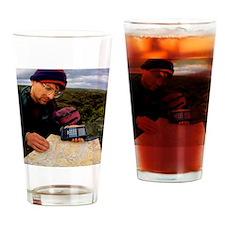 Walker using hand-held GPS receiver Drinking Glass