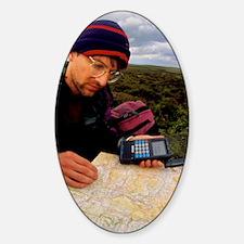 Walker using hand-held GPS receiver Decal
