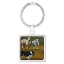Border Collie and Sheep Square Keychain