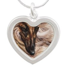 Afghan Hound Silver Heart Necklace