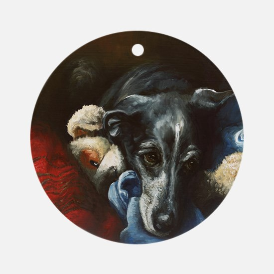 Whippet and Toy Round Ornament