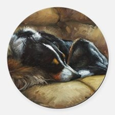 Border Collie on Couch Round Car Magnet