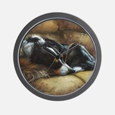 Border Collie on Couch Wall Clock