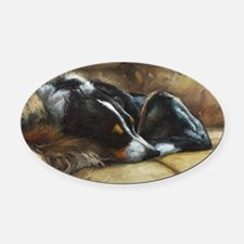 Border Collie on Couch Oval Car Magnet