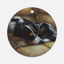 Border Collie on Couch Round Ornament