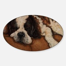 Saint Bernard Sleeping Sticker (Oval)