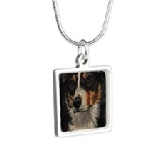 Border Collie Portrait Silver Square Necklace