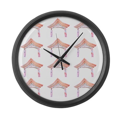 Pink Asian Temple Designer Large Wall Clock by AdminCP9012672