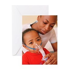 Girl with nebulizer Greeting Card