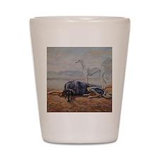 Saluki in the Desert Shot Glass