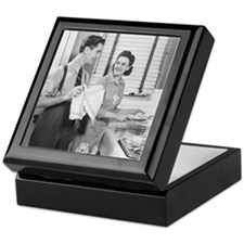 Man and woman doing dishes in kitchen Keepsake Box