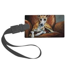 Whippet on Chair Luggage Tag