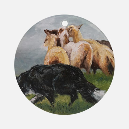Border Collie and Sheep Round Ornament