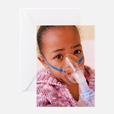 Girl with asthma nebulizer Greeting Card