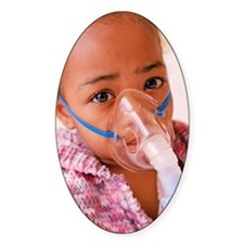 Girl with asthma nebulizer Decal