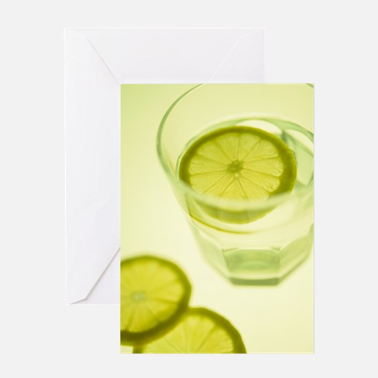 Glass of water with sliced lemon Greeting Card