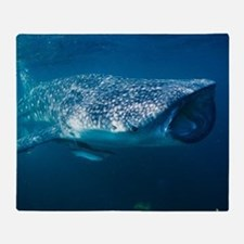 Whale shark and pilot fish Throw Blanket